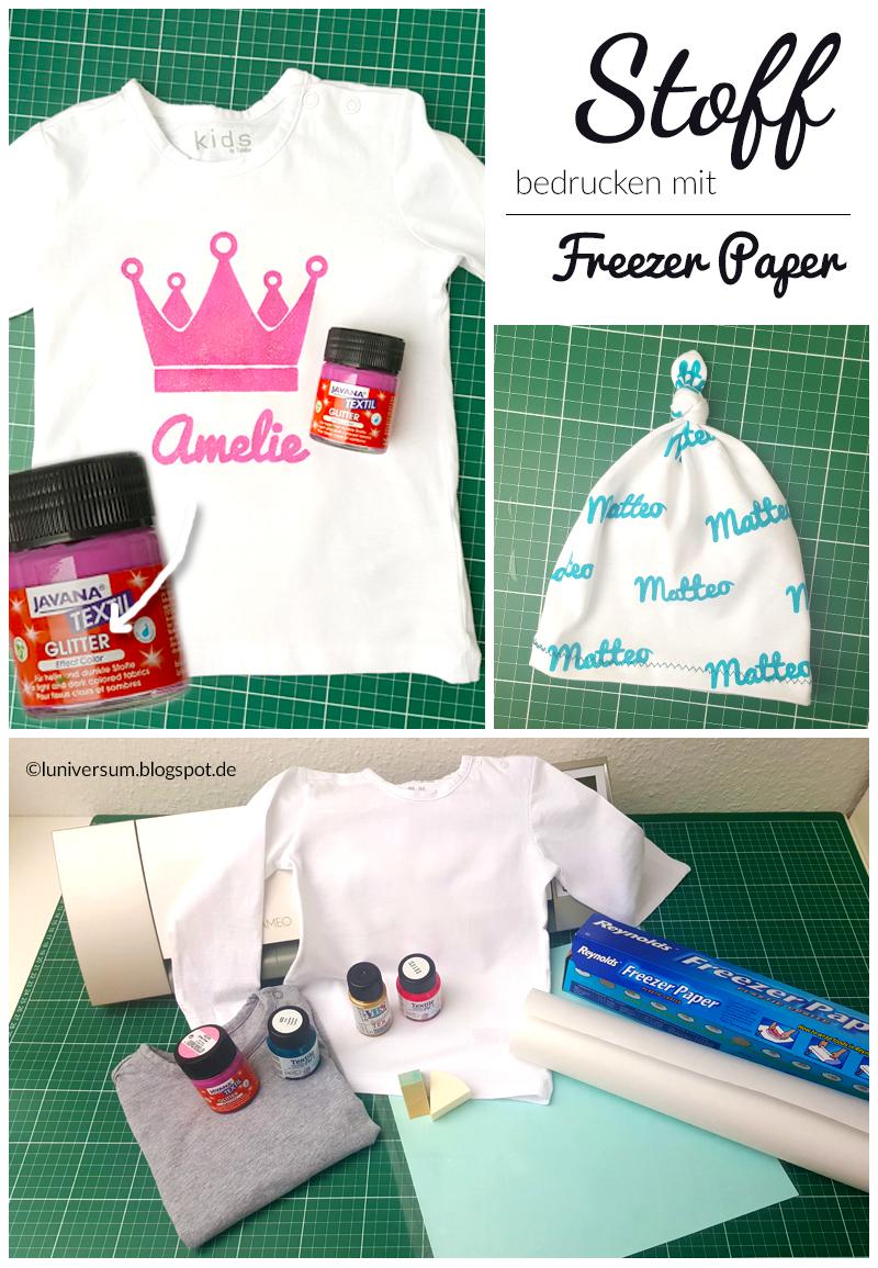 Stoff bedrucken mit Textilmalfarbe und Freezer Paper als Schablone